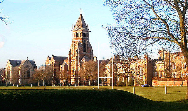 "Rugby School as seen from ""the close"" where according to legend Rugby football was invented."