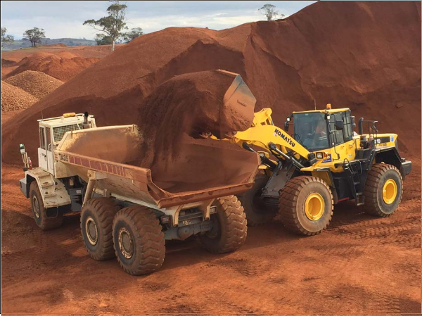 Blending cement-grade bauxite at Bald Hill Mine Site.