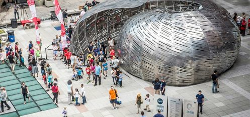 Thirty-Foot Aluminium Nautilus Lets Visitors Listen to NASA Satellites